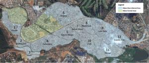 Map of the railway line in Kibera (one error, Nº2 is Soweto West)
